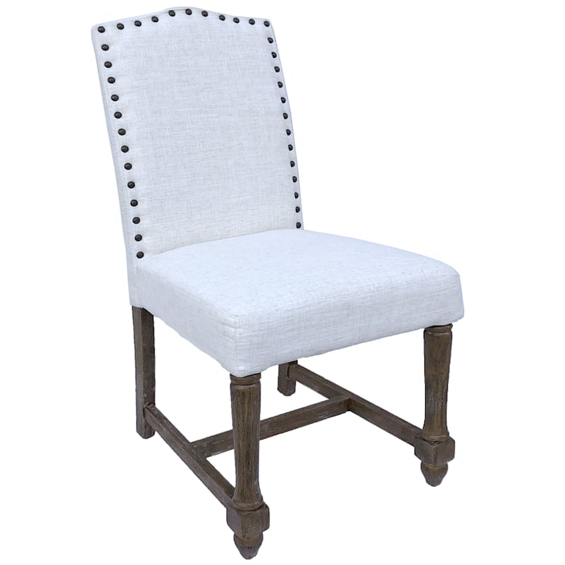 Camelback Ivory Dining Chair with Nailhead Trim
