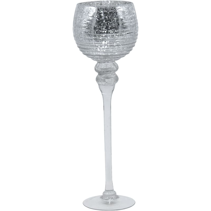 """Grace Mitchell Silver Crackled Candlestick, 16"""""""