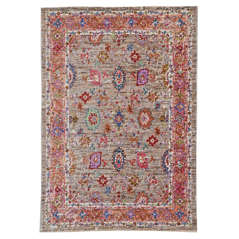 (A373) Multi Colored High End Border Rug, 3x5
