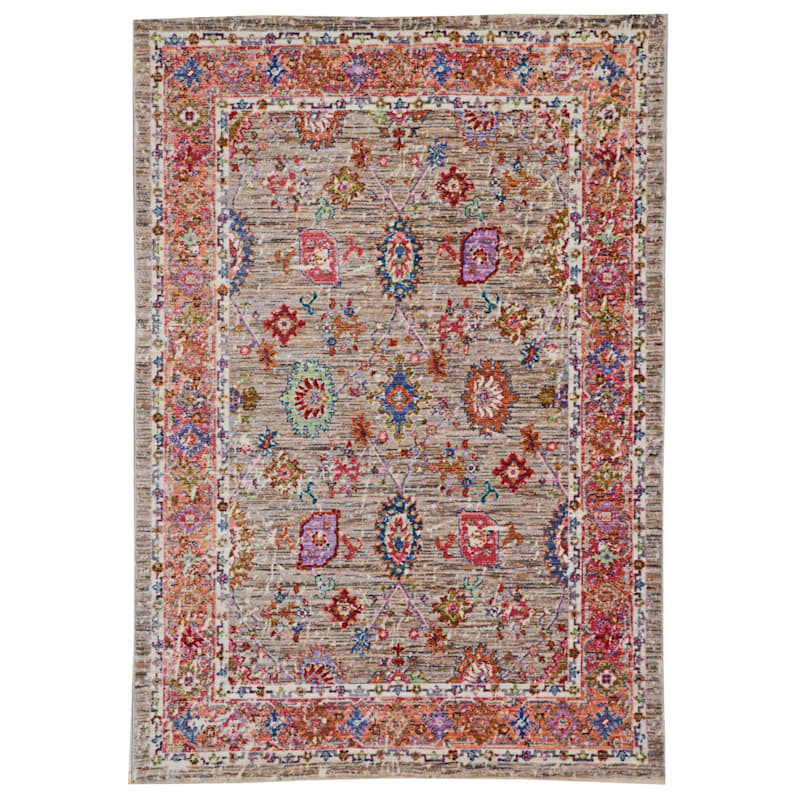 (A373) Multi Colored High End Border Rug, 2x6
