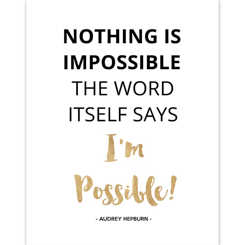 11X14 Nothing Is Impossible Foiled Canvas Art