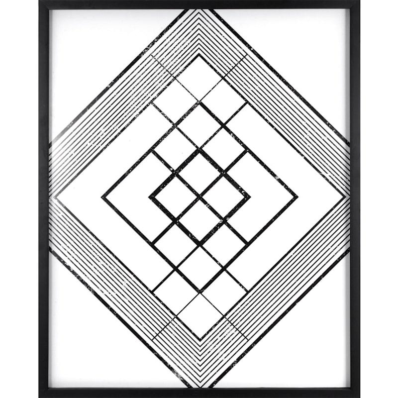 23X29 Geo Diamond Lines Framed Art