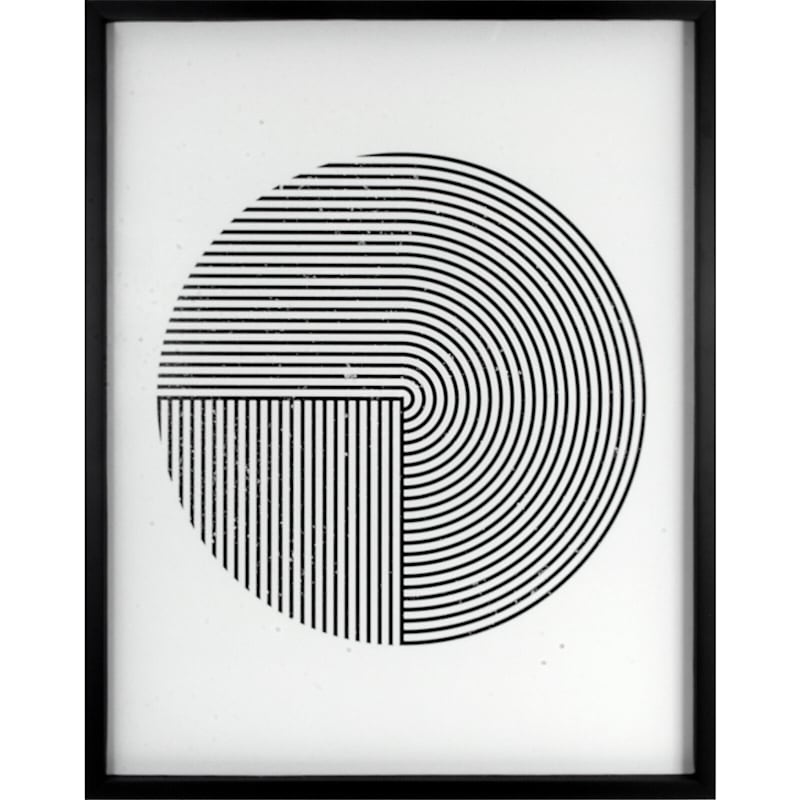 23X29 Geo Circle Lines Framed Art