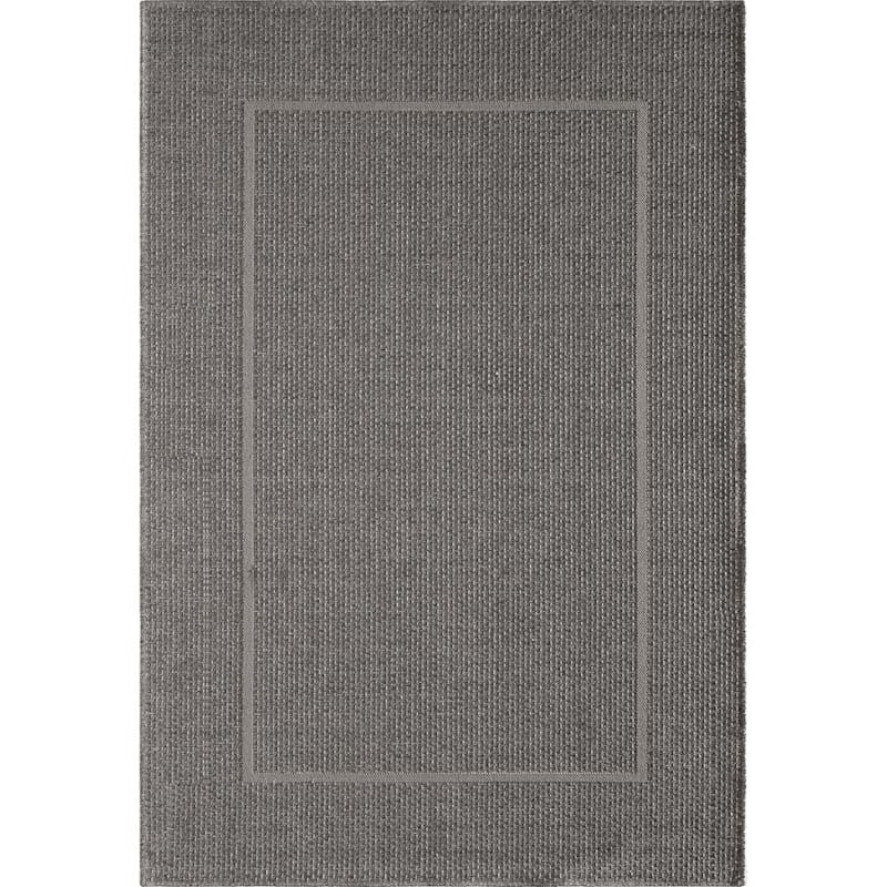 (E195) Longfloats Grey & Natural Indoor/Outdoor Woven Area Rug, 7x10