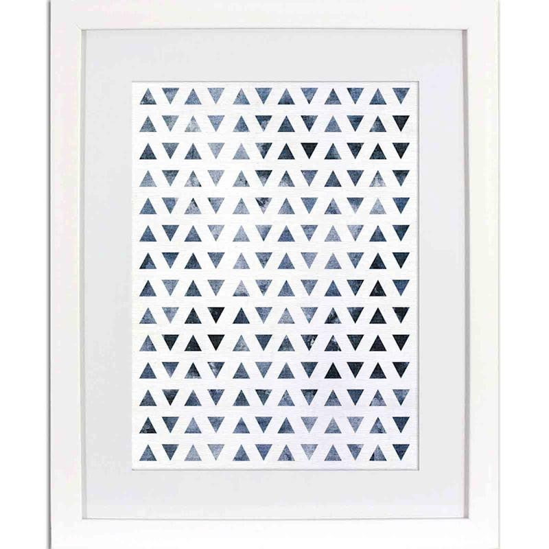 16X20 Indigo Triangles Framed Matted Art Under Glass