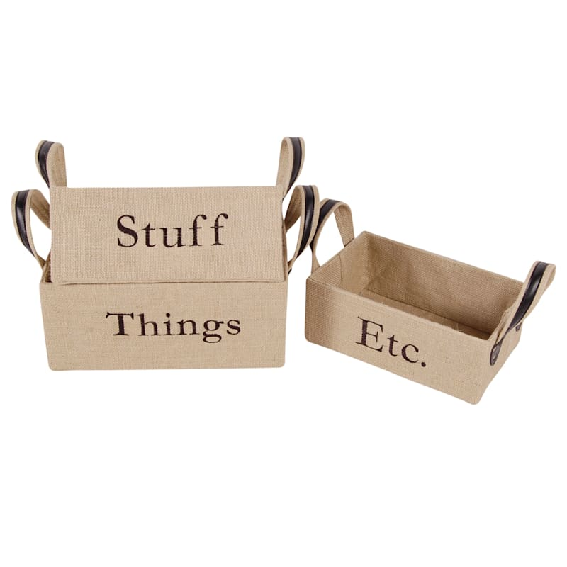 Burlap Rectangular Basket/Words And Liner Small