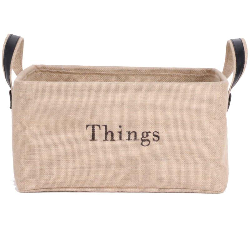 Burlap Rectangular Basket/Words Liner Handle Large