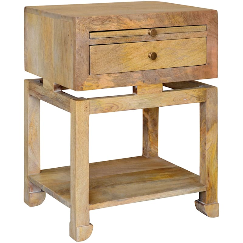 Maddison Natural Wood Side Table With Drawer And Shelf