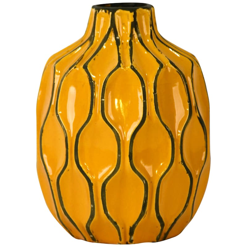 6X8 Yellow Ceramic Short Neck Vase