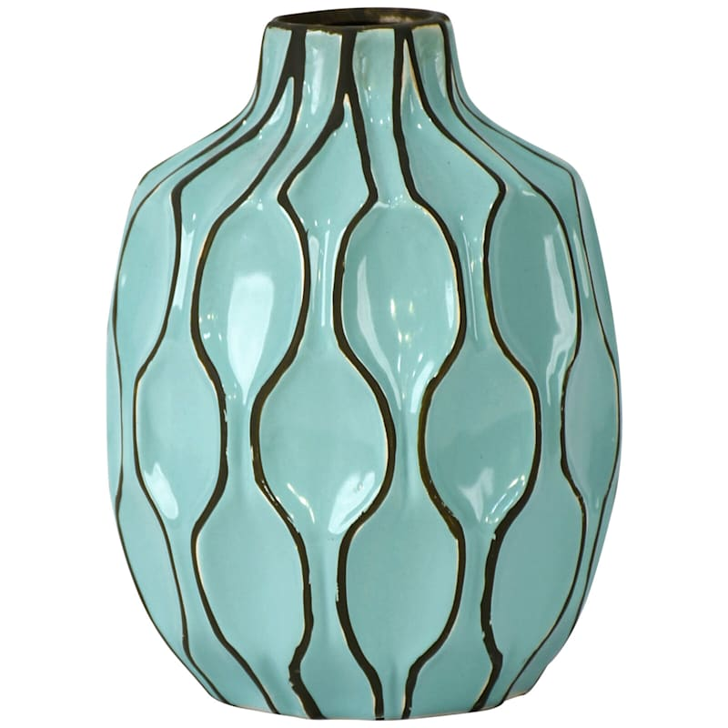 Teal Ceramic Short Neck Vase, 6X8
