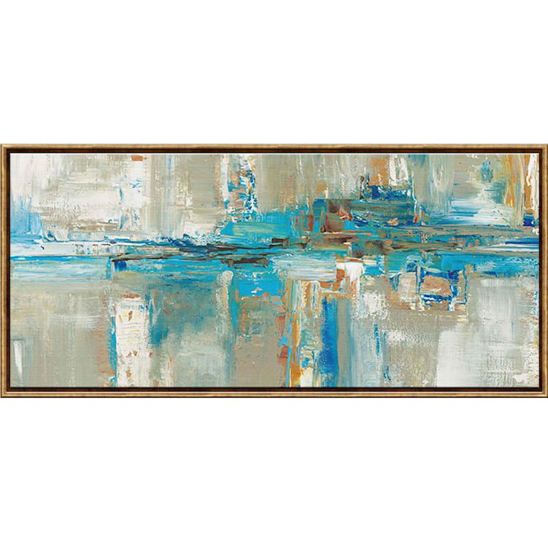 54X24 Marron Abstract Framed Canvas Wall Art