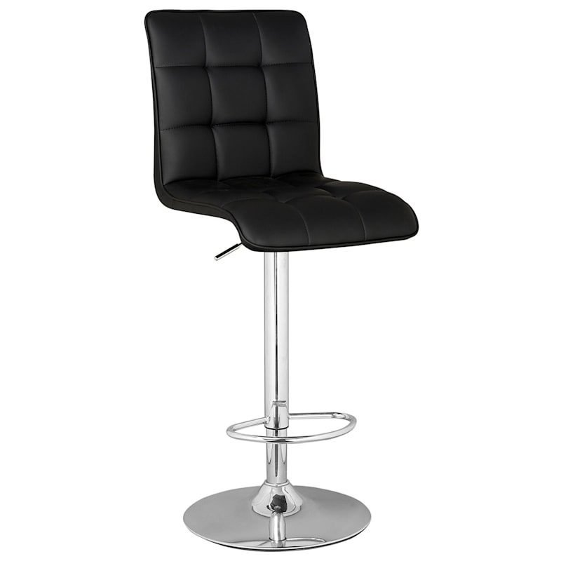 Bradley Adjustable Chrome Black Barstool