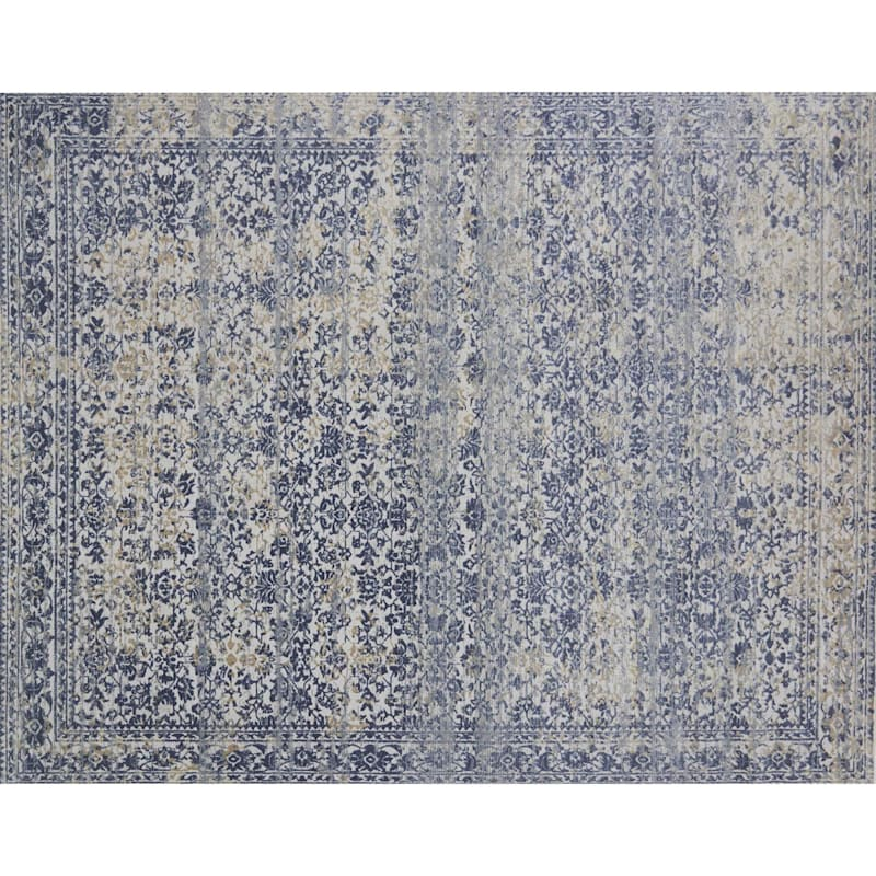 (A377) Venice Distress Look Blue Area Rug, 8x10