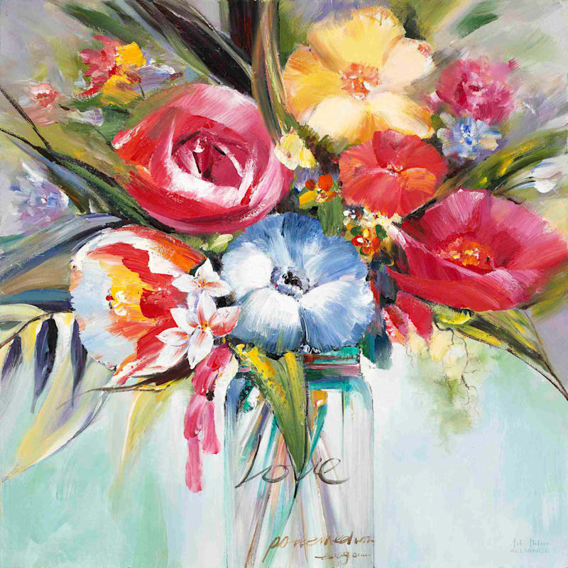 30X30 Lush Painterly Blossoms Canvas Art
