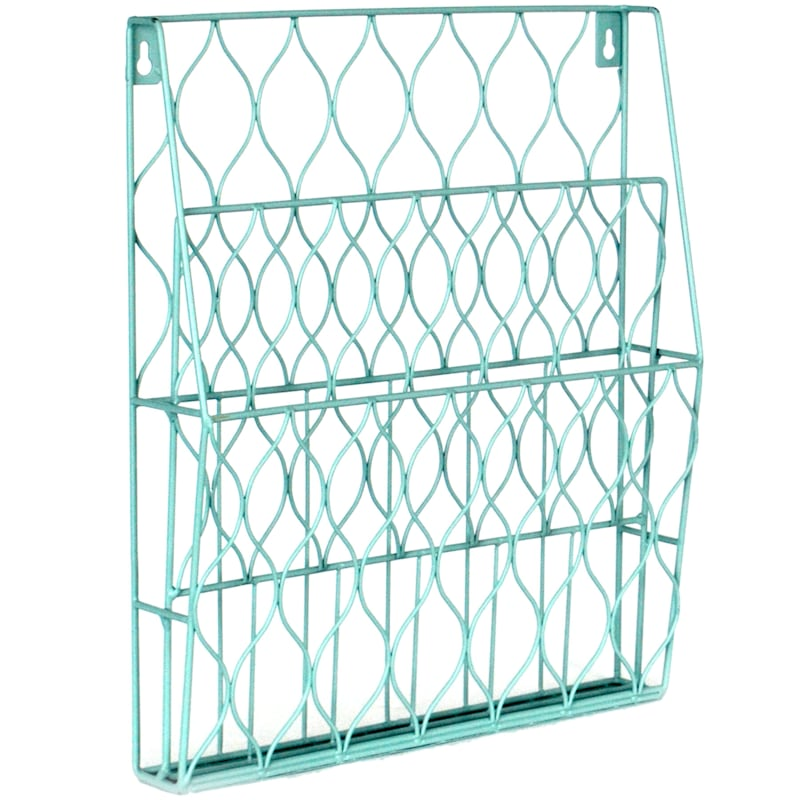 Psych Sky Blue Wire 2-Tier Wall Mounted File Organizer