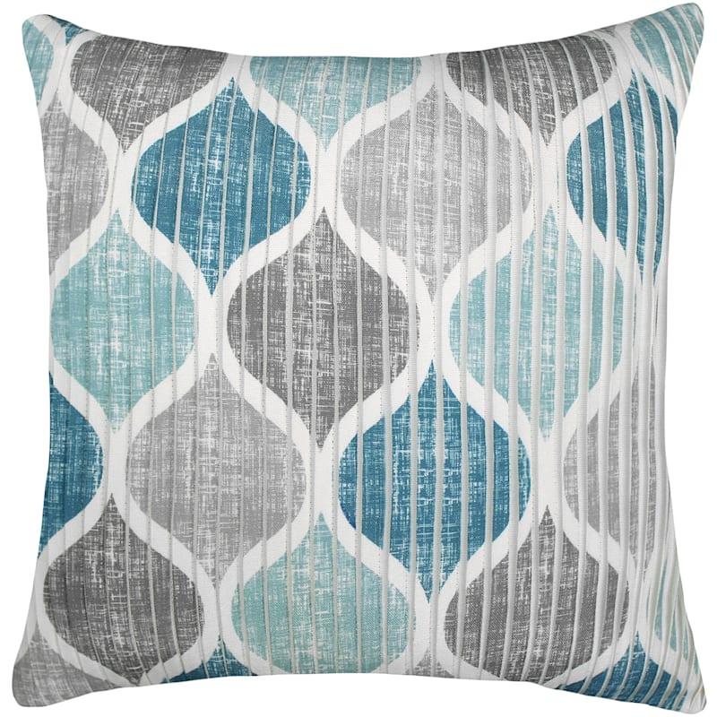 Hollis Aqua/Teal/Grey Pleated Pillow 18X18