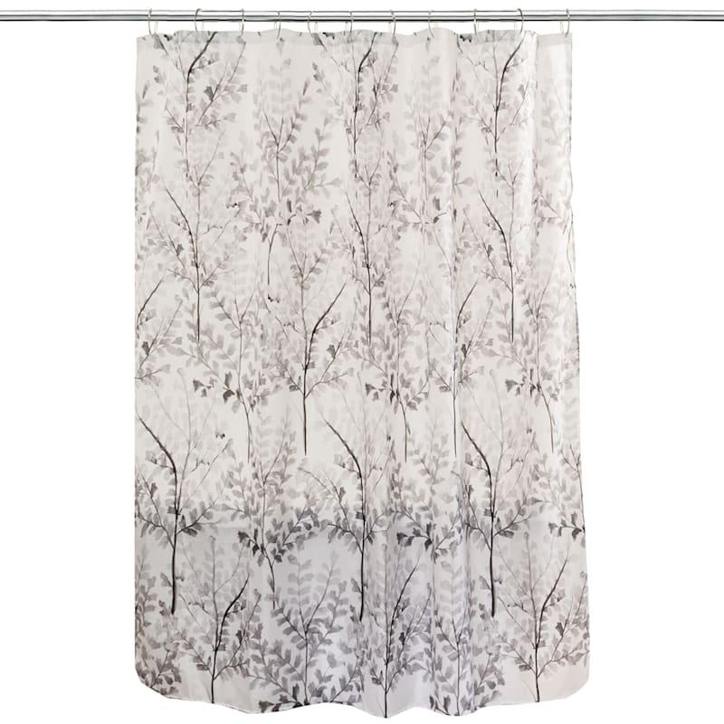 Grey Yin Branches Fabric Shower Curtain 70X72