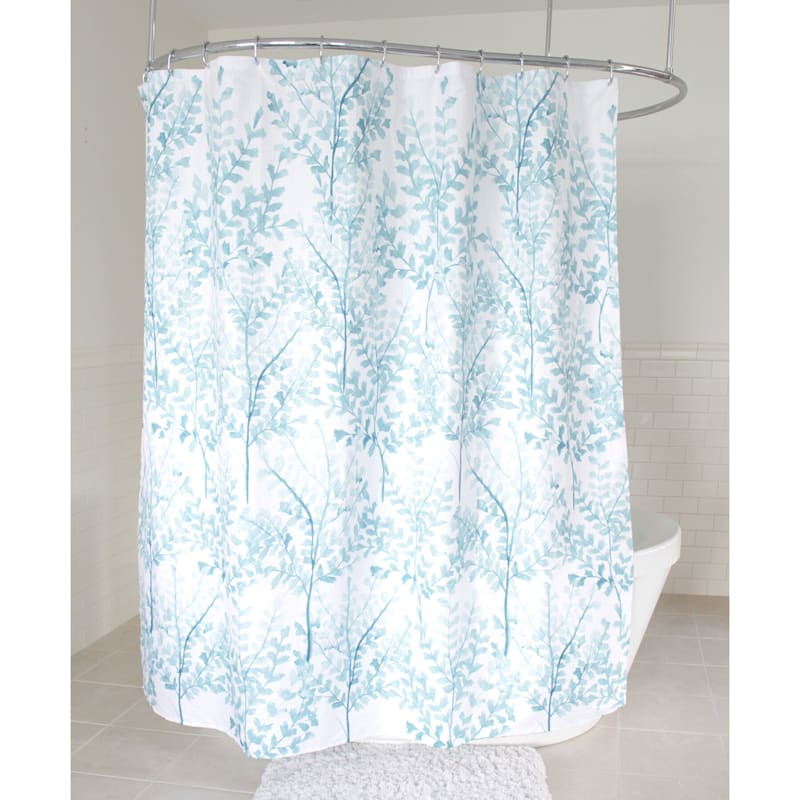 Aqua Yin Branches Fabric Shower Curtain 70X72