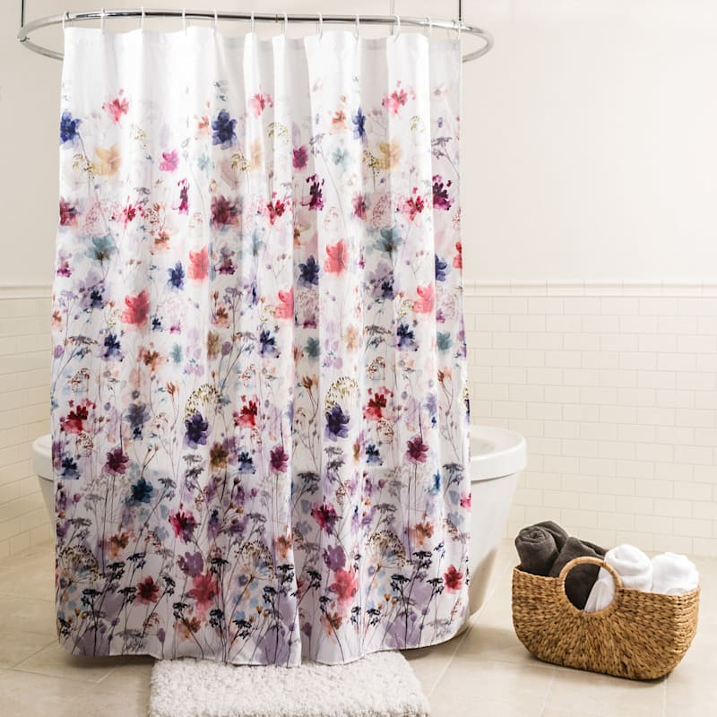Vera Floral Fabric Shower Curtain 70X72