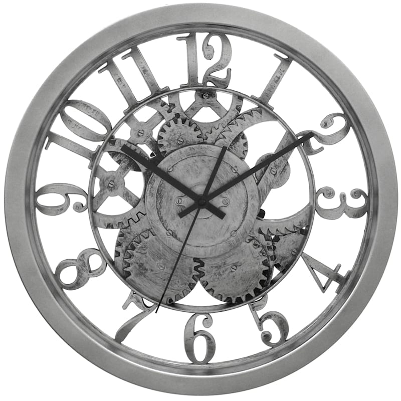 14in. Matte Silver Round Wall Clock With Clear Gear And Dial