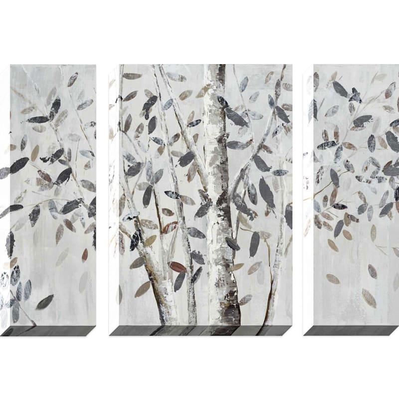 30X40 Glimmering Trees Triptych Enhanced Canvas