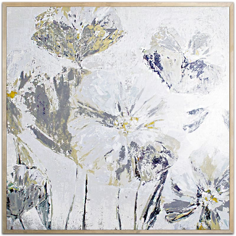 40X40 Grey/Gold Embellished Floral Canvas Wall Art