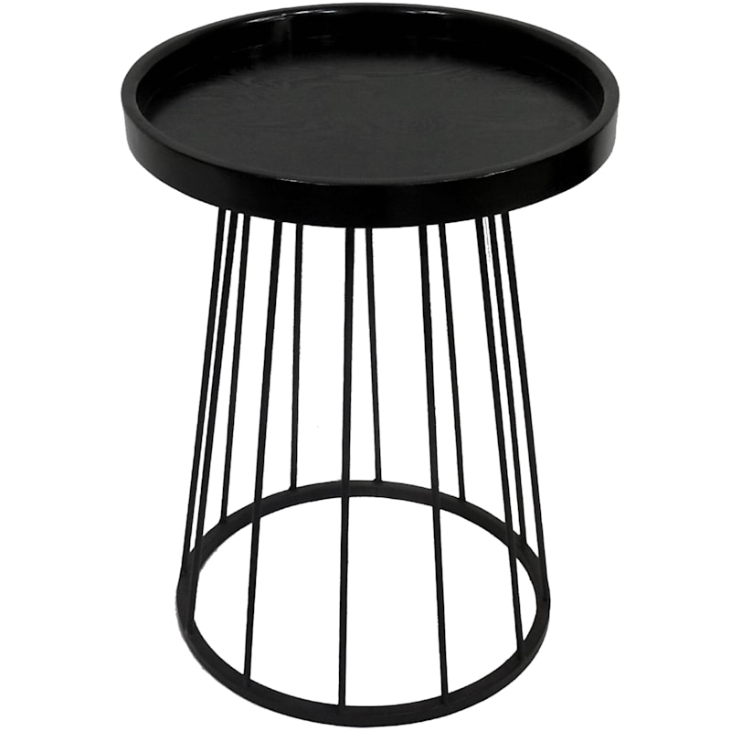 Round Wood Tray Top Accent Table With Metal Base Black