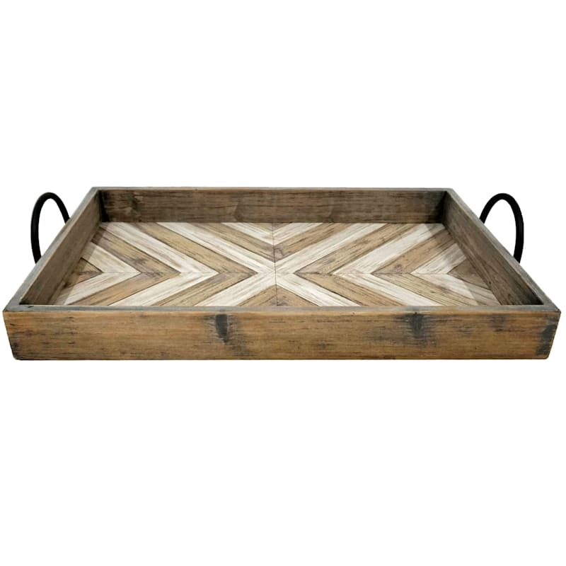 25in. Wooden Rectangle Tray With Iron Handle