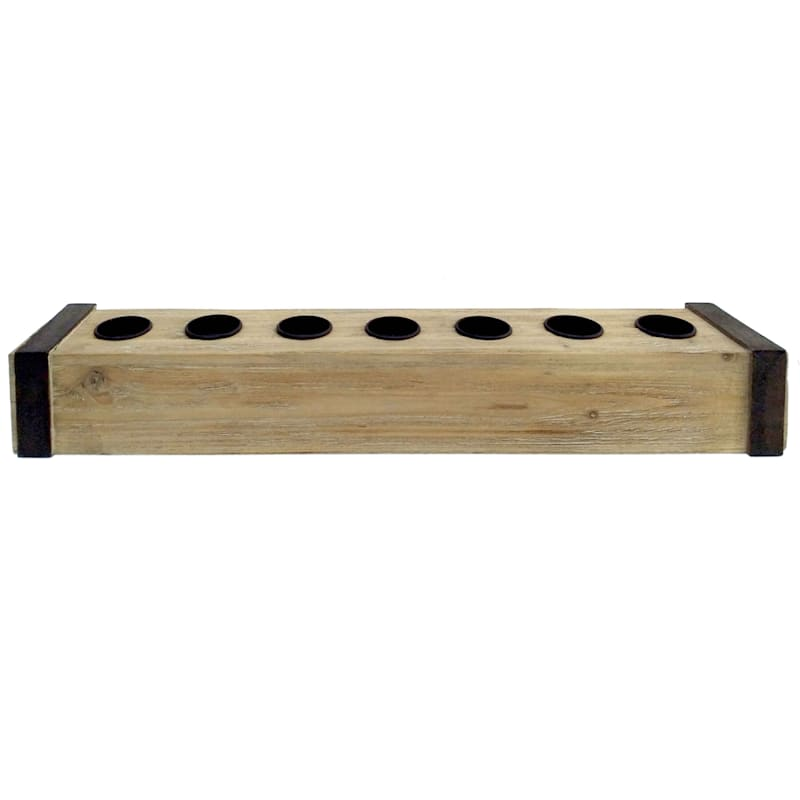 24in. Wooden Rectangle Tealight Candle Holder