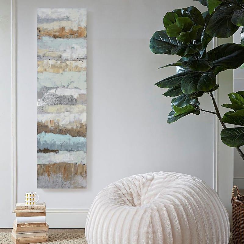 20X71 Painterly Stripes Embellished Canvas Art