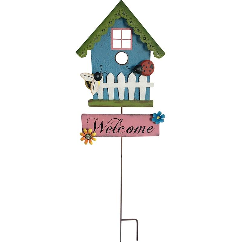 Blue Birdhouse Stake