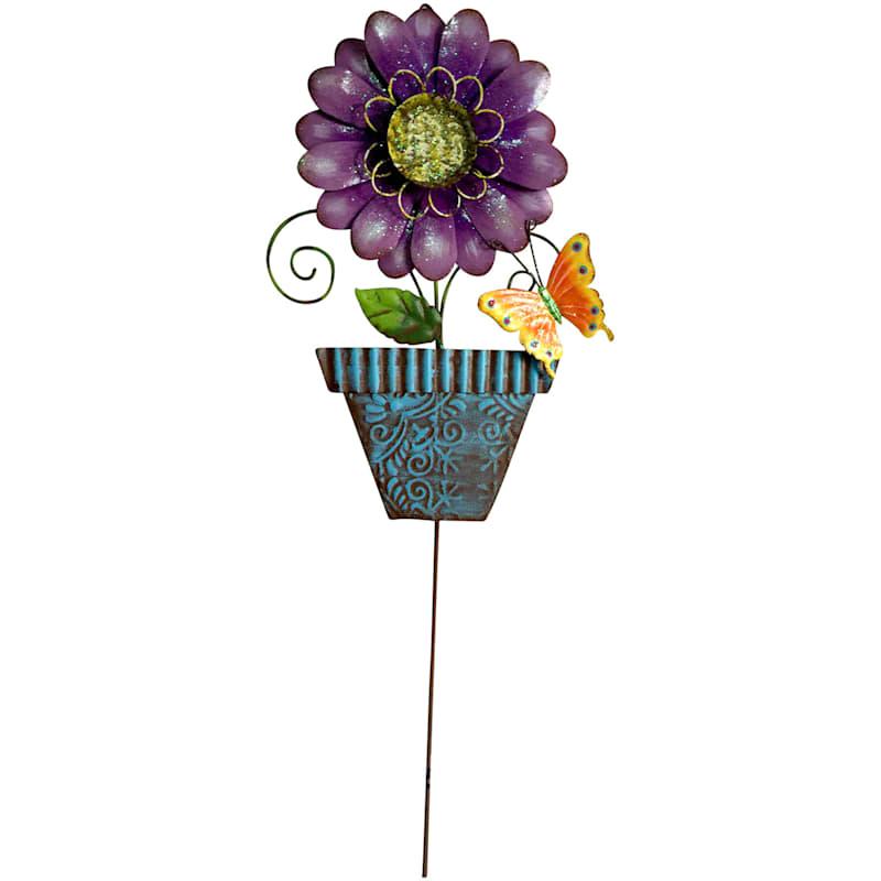 Purple W/Blue Pot Flower Stake