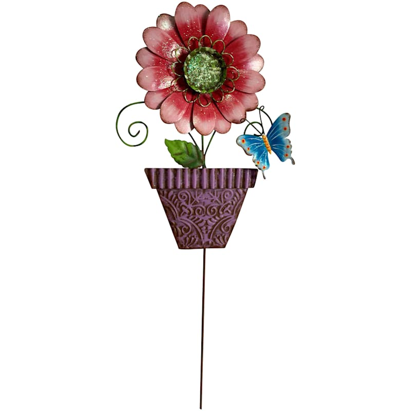 Pink W/Purple Pot Flower Stake