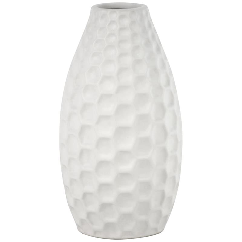 9in. Honeycomb White Ceramic Vase
