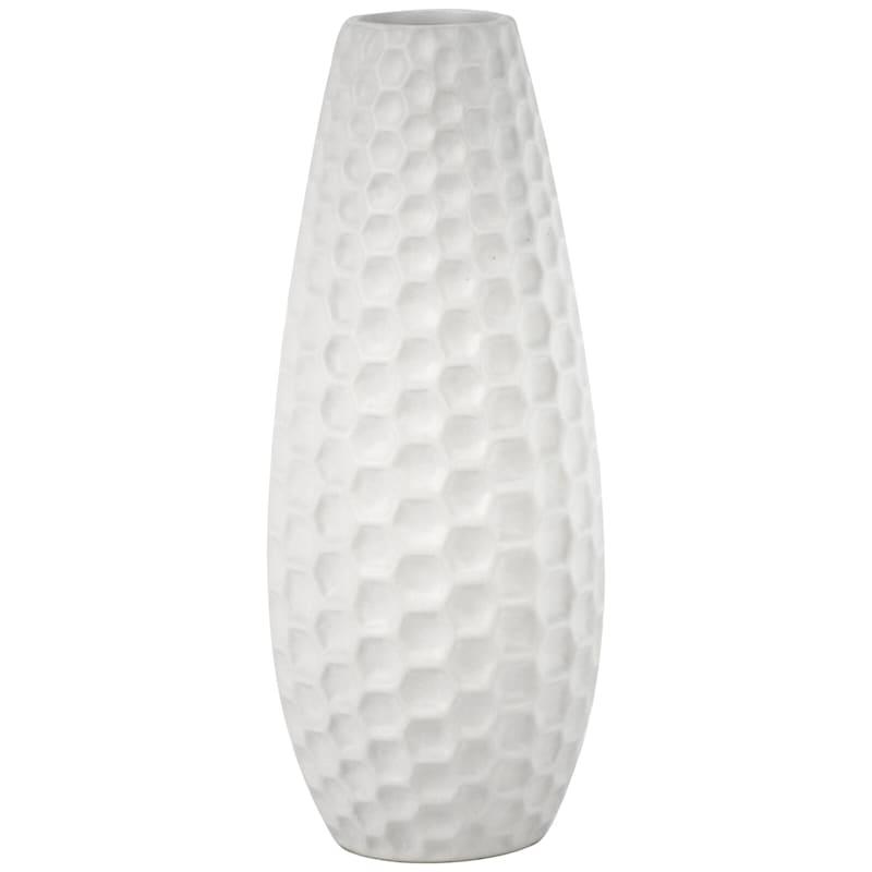 12in. Honeycomb White Ceramic Vase