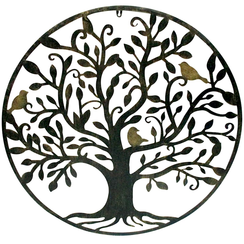 Metal Round Wall Plaque/Silhouette Cut Out Tree Of Life/Bird Scene