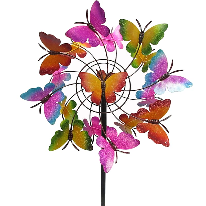 Metal Butterfly Double Layer Wind Spinner Stake/Butterfly Middle