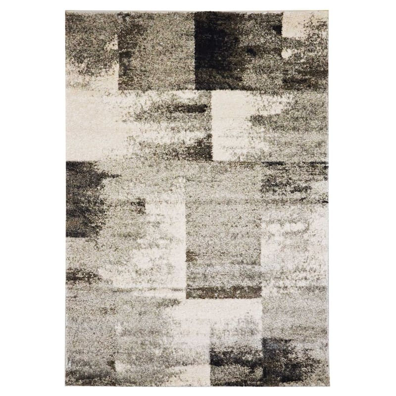 (B501) Ivory & Grey Faded Abstract Block Design, 2x6