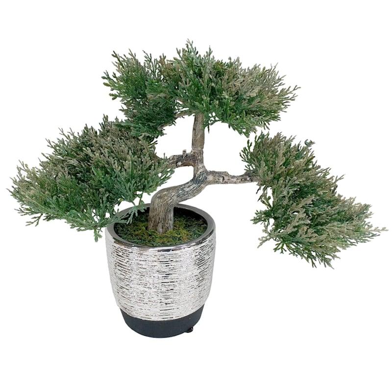 10X10 Bonsai Silver Ceram Pot