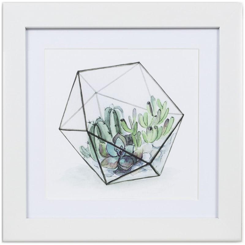 12X12 Green Succulent Terrarium Print Under Glass Wall Art