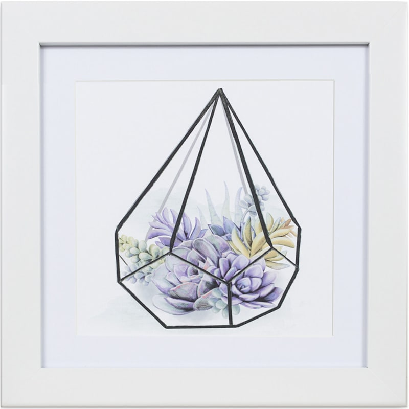 12X12 Purple Succulent Terrarium Print Under Glass Wall Art