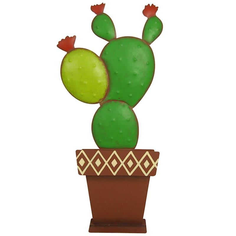 21in. Green Metal Cactus Planter D�cor