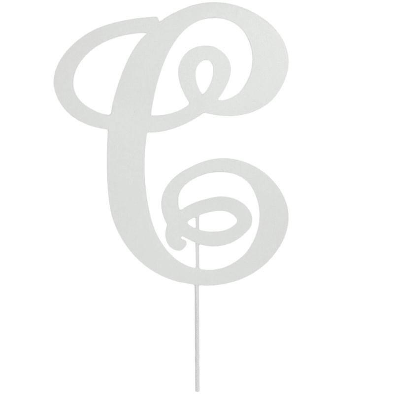 White Metal Monogram 'C' Stake 18-in