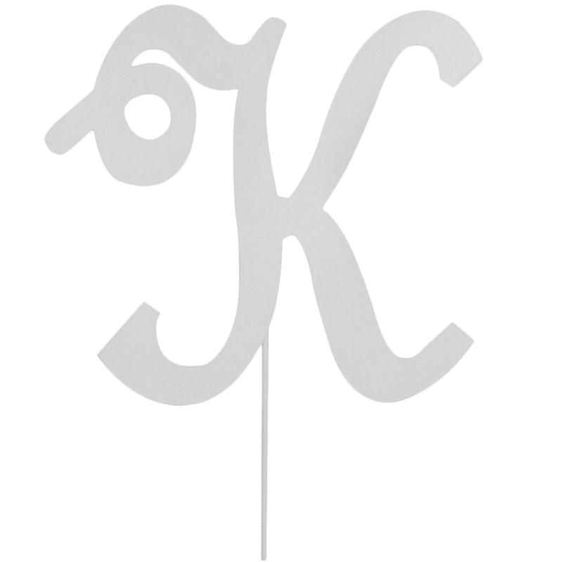 White Metal Monogram 'K' Stake 18-in