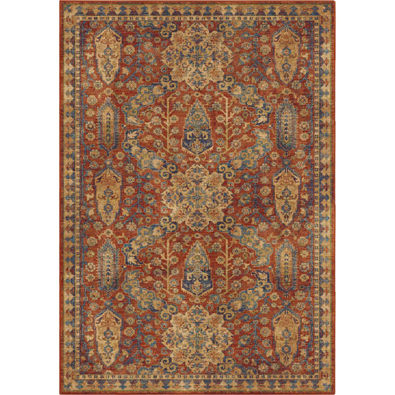 (A380) Bombay Red Area Rug, 5x8