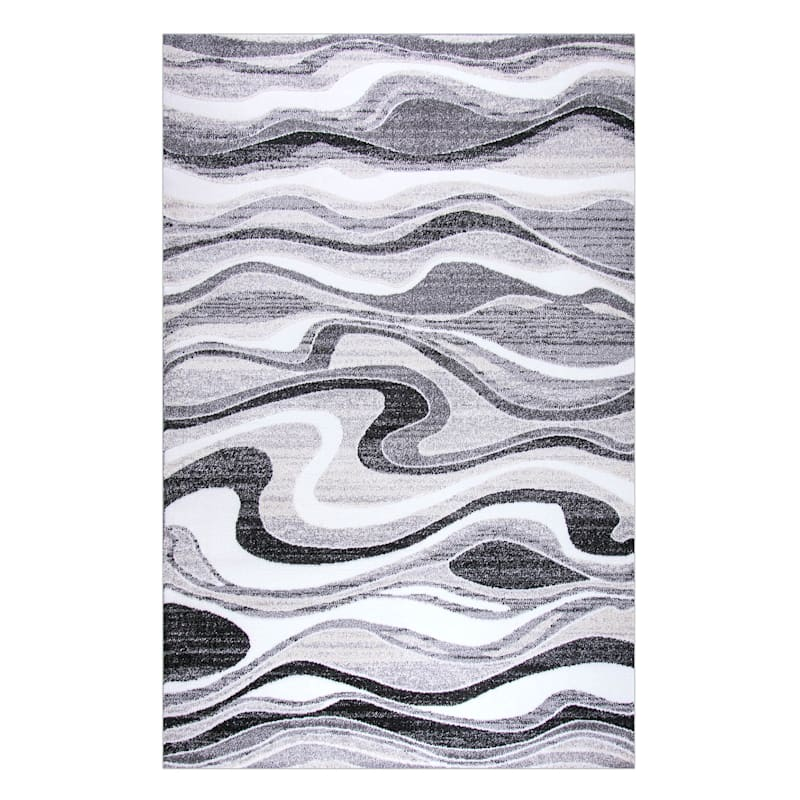 (B511) Soho Grey & Cream Waves Area Rug, 5x7