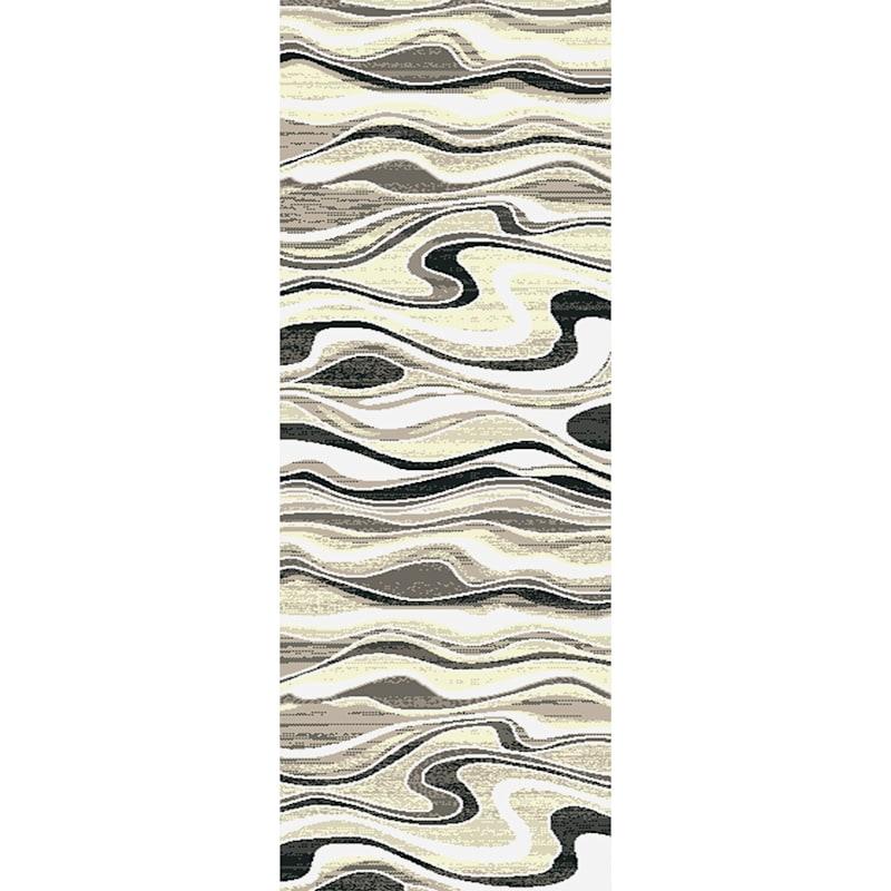 (B511) Soho Grey & Cream Waves Runner, 2x6