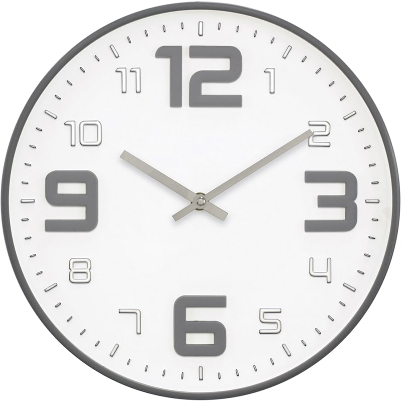 12in. Grey Round 3D Dial Round Wall Clock