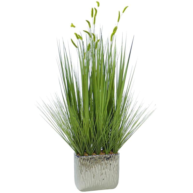 31in. Grass In Silver Pot