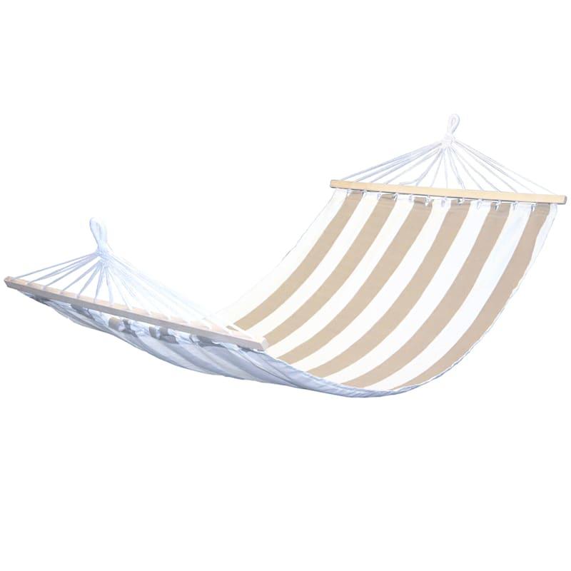 Outdoor Tan & White Stripe Hammock with Spreader Bars
